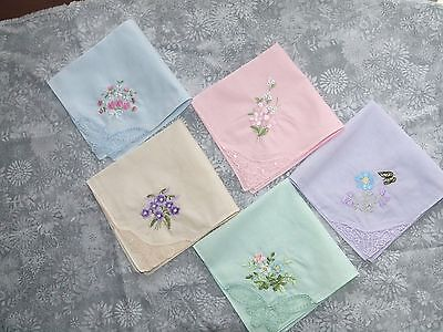 4 pc ladies' pastel cotton handkerchiefs,  flowers & lace; very versatile!