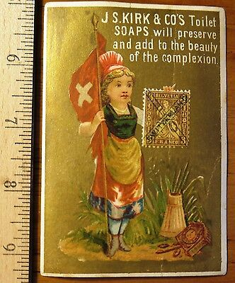 Victorian Trade Card, Girls with Cancelled Postage Stamp Switzerland