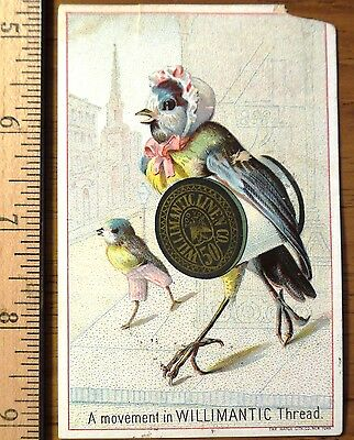 Victorian Trade Card, Mother Bird with young bird,Willimantic Thread N.Y.