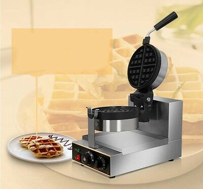 New Single Head Commercial Rotary Electric Heating Stainless Steel Waffle Maker*