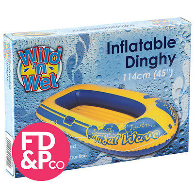 """Wild N Wet Tidal Wave Dinghy Childrens Inflatable Boat Raft Beach Dinghy 56"""""""