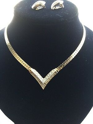 A Vintage Christian Dior Set Of Necklace And Earrings 1980's Iced