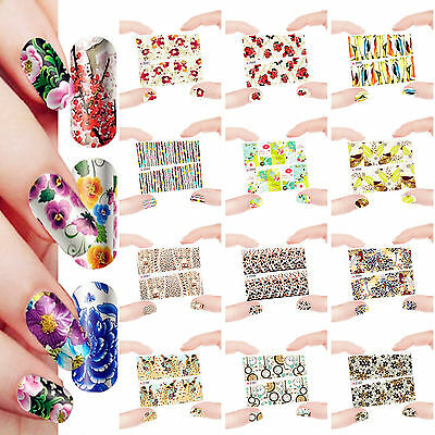 12 Sheets Nail Manicure Tips Water Transfer Decal Stickers Dreams 2091-2102