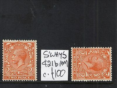 #450 GB GV 1926 2d WATERMARK SIDEWAYS SG421b MM c£100 variety error flaw