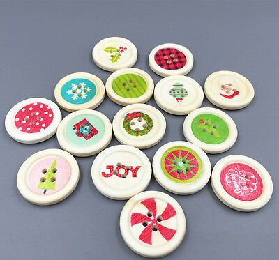 25X WOOD Round 4-holes Christmas pattern Buttons Sewing scrapbooking Crafts 25mm