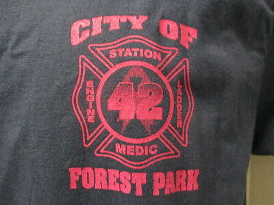 City of Forest Park Fire Department Station 42, Navy Blue with Pink Letters, Med