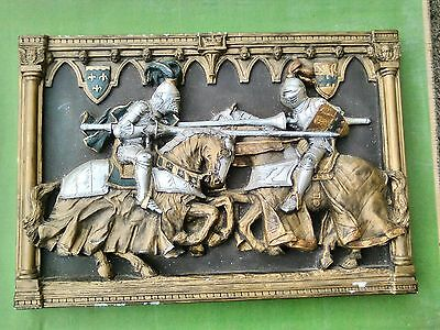 Vintage 1952 Marcus Design Wall Plaque Jousting Knights