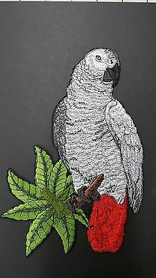 African Grey Parrot Bird Embroidered Patch 8x5.5