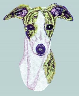 """Whippet Dog, Embroidered Patch 4.8"""" x 6"""""""
