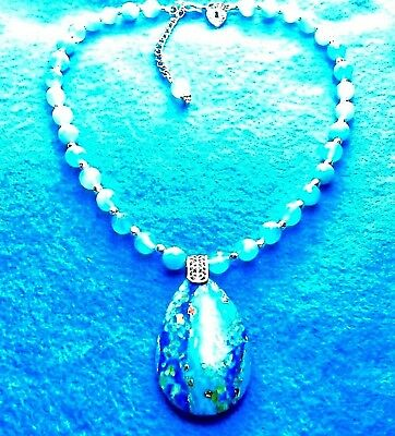 #183 Faceted Agate Gems Necklace + Rare Turquoise & Pyrite Pendent & Native Made