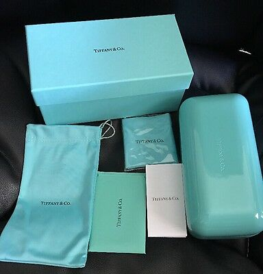 Tiffany & Co. Authentic Eyeglass Sunglasses Case, Box, Cleaner Cloth, Holder Bag