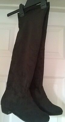 Over knee black faux suede boots- size 4
