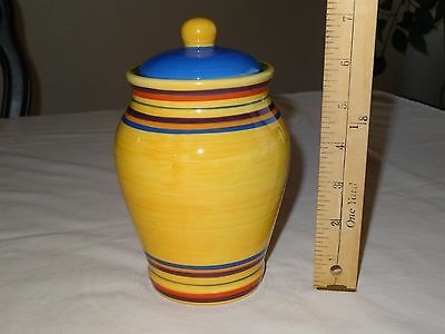 "PACIFIC RIM SANTA FE Small Canister Jar w/ Lid 7"" Rings Cookies Storage READ !"