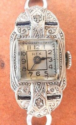 Antique Swiss 18k Gold Platinum Sapphire & Diamond Ladies Watch
