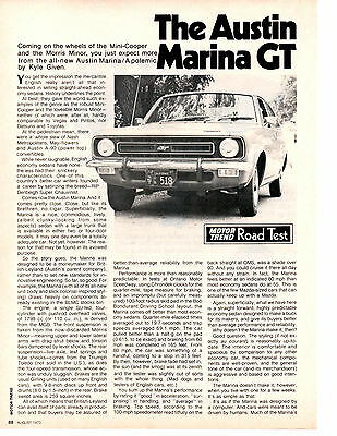 1973 Austin Marina Gt ~ Original 2-Page Road Test / Article / Ad