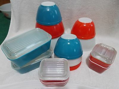 18 Pc Lot Pyrex Red White Blue Mixing Bowls Refrigerator Dishes Lids