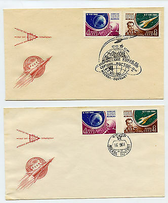 2 Soviet Union Space FDCs - 1961 Pair of Stamps Perf & Imperf on covers Moscow