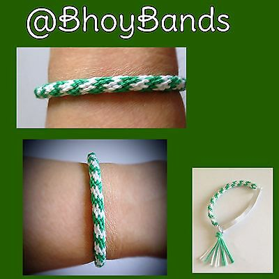 Green and White coloured cotton friendship wristband
