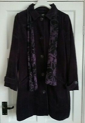 Gorgeous purple cord coat and scarf size 18 m&s