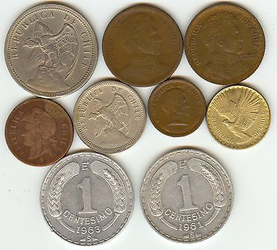 Chile 9 Beautiful Coins 1886-1970!!!  A Very Nice Lot!!!
