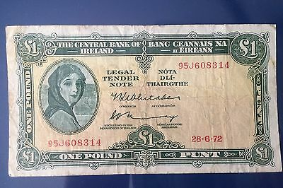 Lady Lavery: Central Bank of Ireland - One Pound / 1 Punt, 28th June 1972