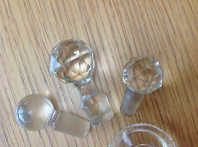 4 Antique / Vintage Cut Glass Decanter / Perfume Bottle Stoppers