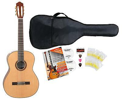Classic Concert Guitar 4/4 Beginner Set Plectrums Strings Gigbag Pitch Pipe