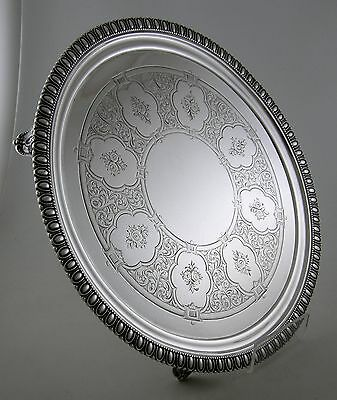 Sterling Tiffany & Co. 550 BROADWAY footed tray (Ca. 1855-60)