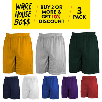 3 Pack Mens Mesh Shorts Basketball Shorts Workout Fitness Jersey Gym Shorts