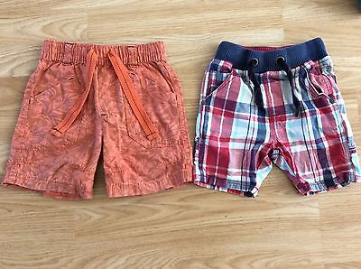 Next Shorts Orange And Red Check 18-24 Months