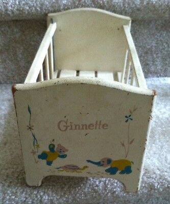 Ginnette 1950's Wooden Painted Doll Bed Crib With Working Drop-down Side
