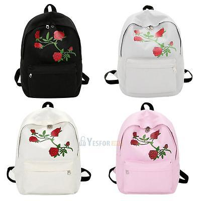Canvas Backpack Women School Bag Rucksack Travel Book Bag Flower Embroidery Bags