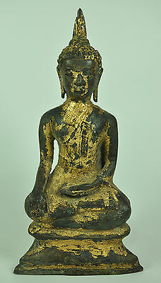 Antique Phra AYUTTHAYA Thai Gilt Gold Old Bronze Buddha Buddhist Figure Statue