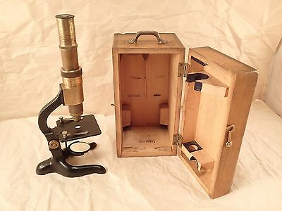 Antique SCHUTZ A.-G. CASSEL, Germany Compound Monocular Microscope in Case