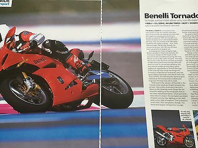 BENELLI TORNADO 898cc - ORIGINAL 3 PAGE LAUNCH REPORT MOTORCYCLE ARTICLE