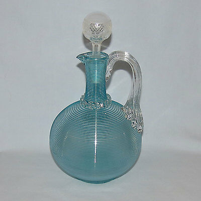 Victorian Glass Stevens and Williams threaded glass decanter with stopper
