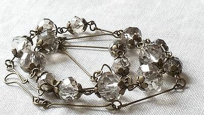 Czech Faceted Smokey Glass Bead Necklace Vintage Deco Style