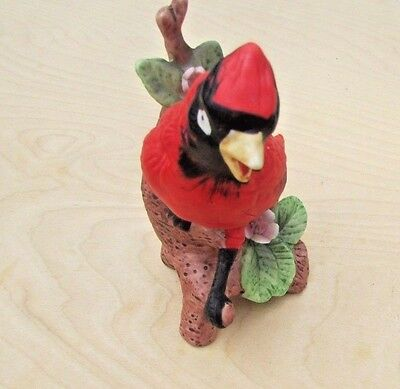 Beautiful Red Cardinal Sitting onTree with 2 Flowers Ceramic Statue Figure