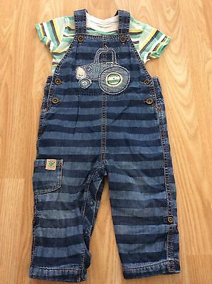 Next Tractor Summer Dungarees And Bodysuit Vest 12-18 Months