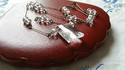 Czech Crystal Clear Faceted Glass Pendant Necklace Vintage Deco Style