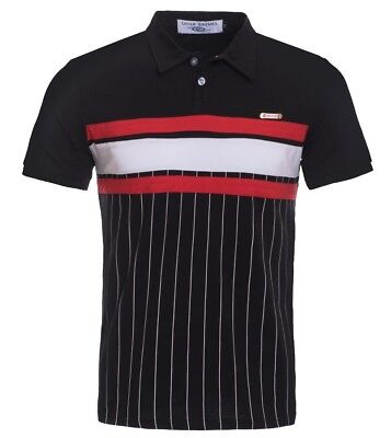 New Mens Short Sleeve Polo Shirt Slim Fit Black Button Up White Red Cotton