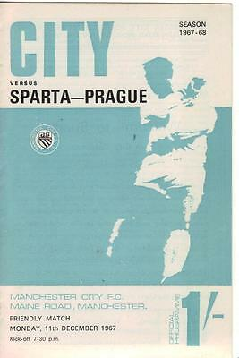 1967/68    Man City    v    Sparta Prague    Friendly   Near  MINT