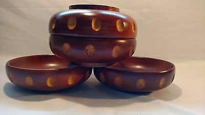 Set of 4 Vintage Baribocraft Teak Wood Salad Bowls Notched Border Mid Century
