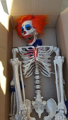 Lifesize Jointed Skeleton Clown Haunted House Halloween Prop