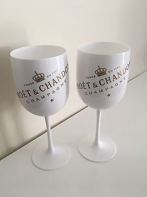 moet chandon Ice Imperial glasses White Acrylic champagne glasses X 2