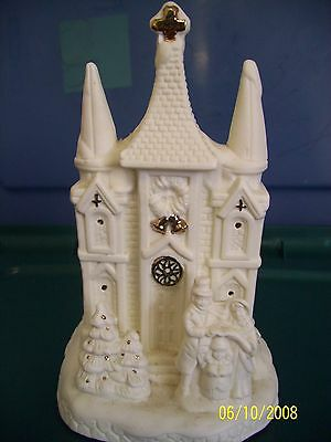Vintage White Ceramic Church Cathedral Music Box-Plays Christmas Carrolls