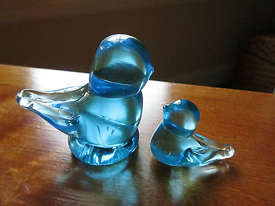 Blue Bird of Happiness Ron Ray 1993 Set of 2 Bird Figurines Art Glass Exc Cnd