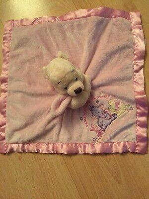 Disney Store Winnie The Pooh Pink Baby Snuggle Comforter Blankie Cute Soft Toy