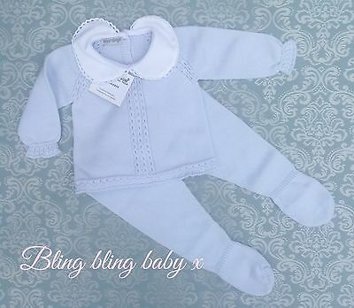 Spanish Baby Boys Knitted Babygrow Romper 2 Piece Outfit Set 0-3 Months Romany
