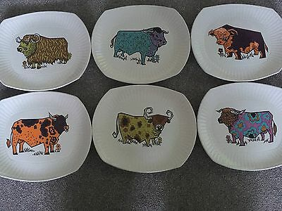 Vintage 1970's 'beefeater' Steak Plate Set Of 6 English Pottery - Bull Designs